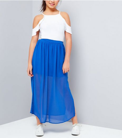 Teens Blue Chiffon Split Side Maxi Skirt | New Look