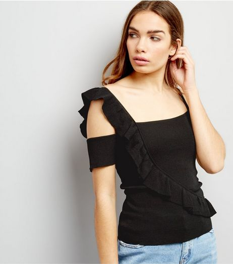 Black Frill Trim Top  | New Look