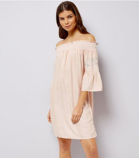 Shell Pink Embroidered Bardot Neck Beach Dress | New Look