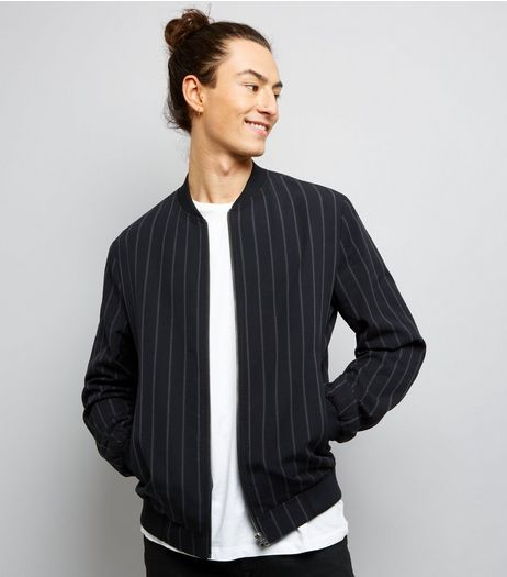 Black Stripe Bomber Jacket | New Look