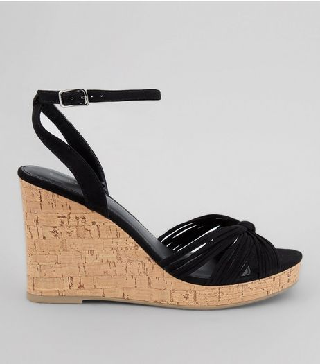 Black Suedette Knot Front Cork Wedges | New Look