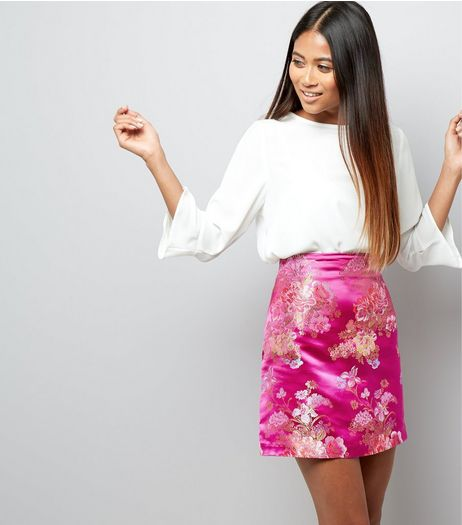 Petite Pink Floral Print Jacquard Skirt | New Look