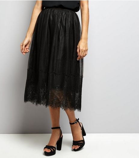 Petite Black Tulle Lace Trim Midi Skirt | New Look