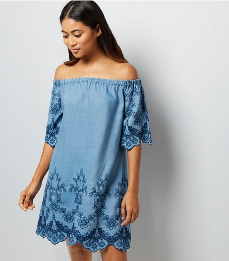 Petite Blue Embroidered Bardot Neck Dress | New Look