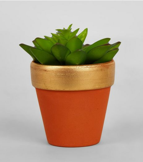 Gold Trim Artificial Plant Pot | New Look
