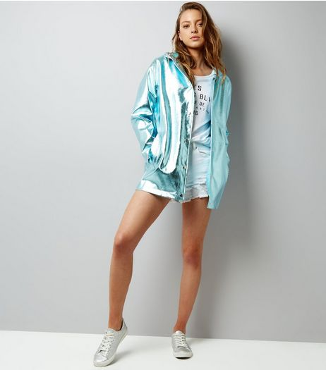 Mint Green Patent Anorak  | New Look