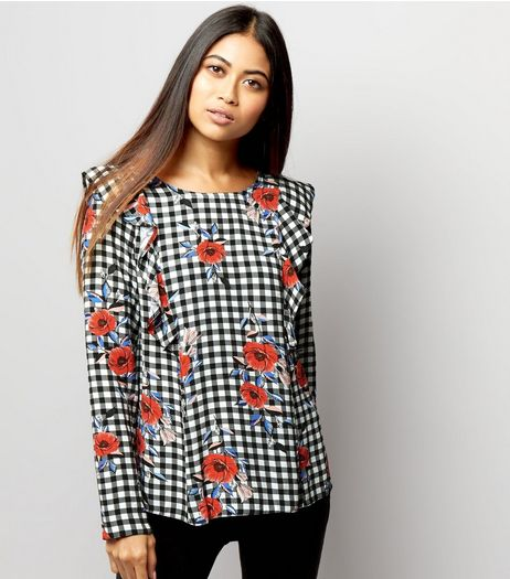 Petite Black Gingham and Floral Print Top | New Look