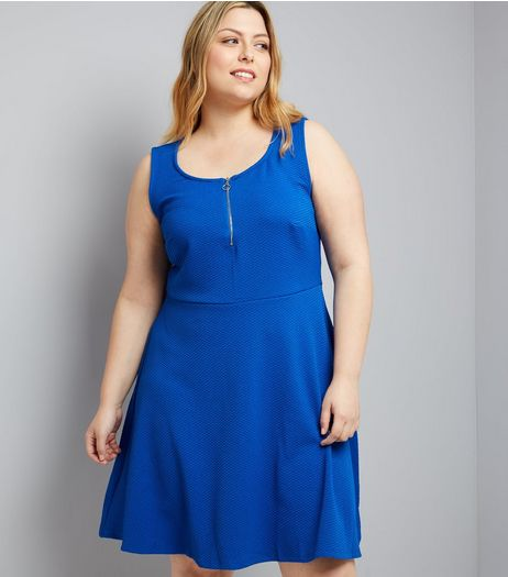 Curves Blue Zip Front Textured Skater Dress | New Look