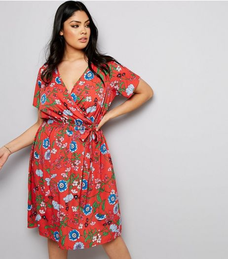 Curves Red Floral Print Wrap Front Dress  | New Look