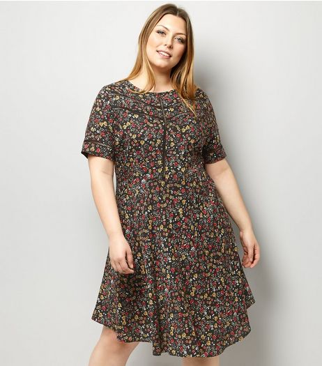 Curves Black Ditsy Floral Ladder Print Tea Dress | New Look