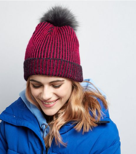 Pink Contrast Knit Faux Fur Pom Pom Hat | New Look