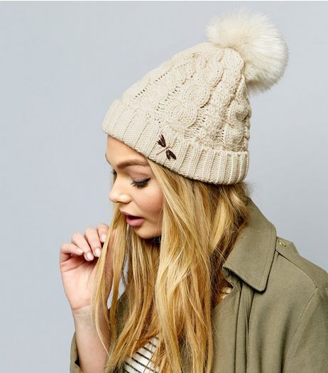 Cream Metal Dragonfly Pin Bobble Hat | New Look