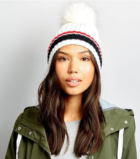 Cream Contrast Stripe Faux Fur Pom Pom Hat | New Look