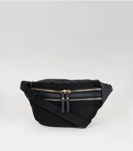 Black Mesh Bumbag | New Look