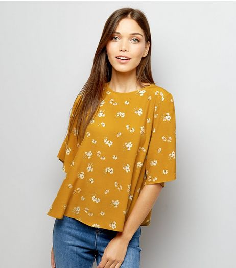 Orange Floral Print Cold Shoulder T-Shirt  | New Look