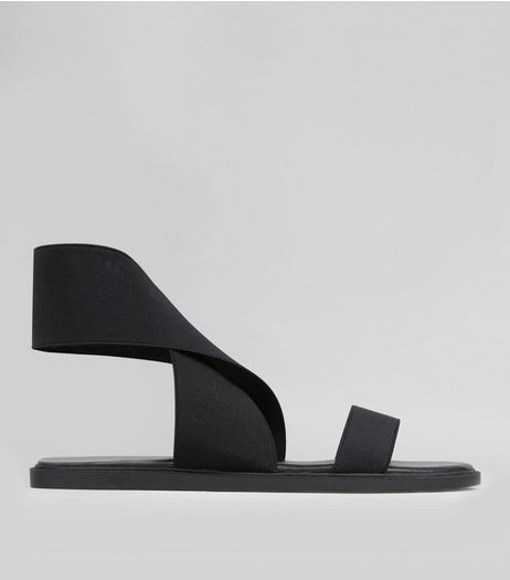Wide Black Elasticated Strap Sandals  | New Look
