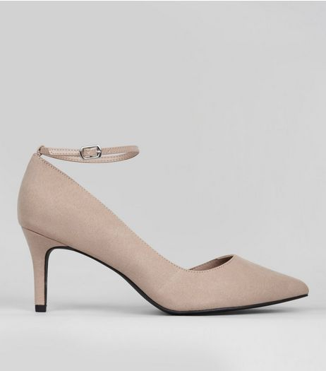 Wide Mink Suedette Ankle Strap Heels | New Look
