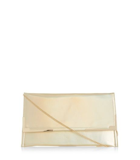 Gold Iridescent Metal Trim Clutch | New Look