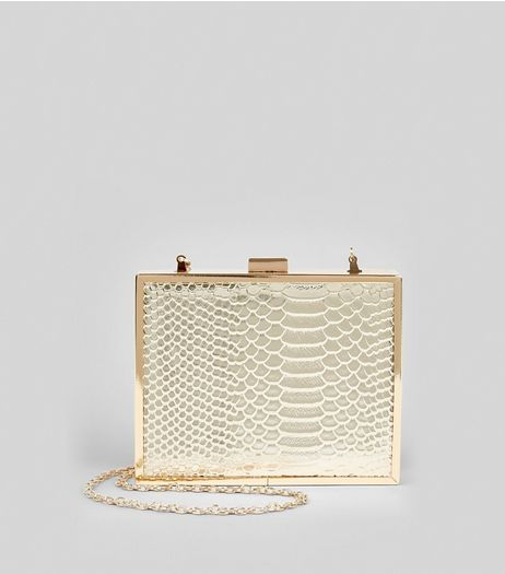 Gold Snakeskin Textured Box Clutch | New Look