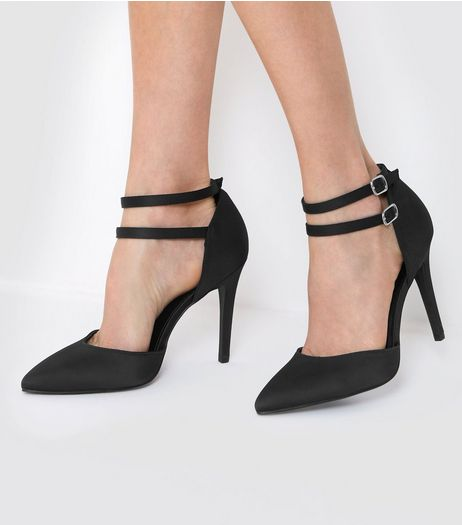 Wide Fit Black Satin Double Strap Heels | New Look