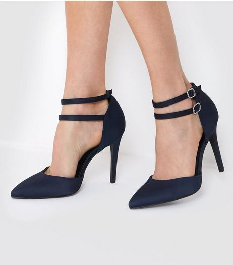 Wide Fit Navy Satin Double Strap Heels | New Look