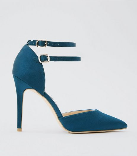 Wide Fit Blue Satin Double Strap Pointed Heels | New Look