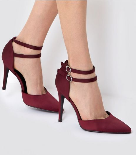 Wide Fit Burgundy Satin Double Strap Heels | New Look