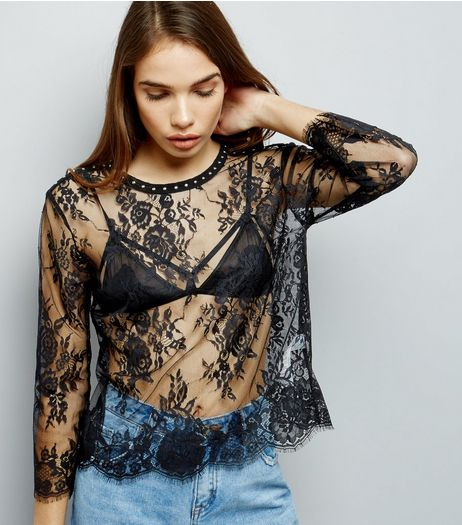 Black Lace Studded Neck Long Sleeve Top | New Look