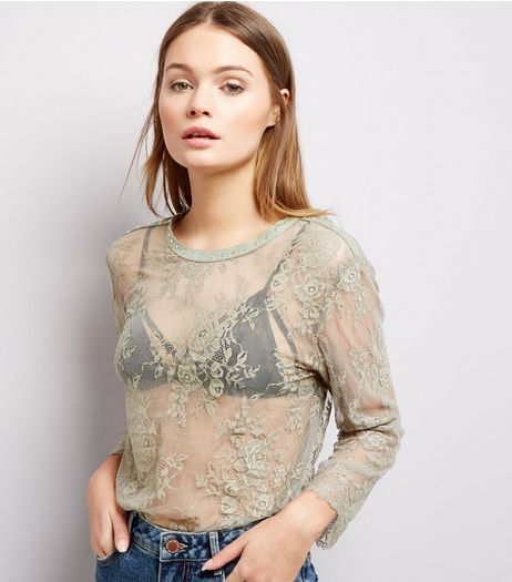 Olive Green Stud Neck Trim Lace Long Sleeve Top  | New Look