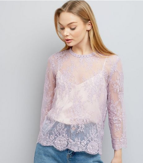 Lilac Lace Stud Trim Long Sleeve Top  | New Look