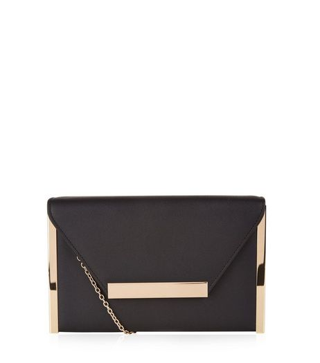 Black Metal Trim Clutch Trim | New Look