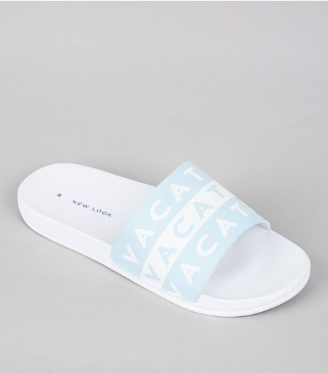 Pale Blue Vacation Pool Sliders | New Look