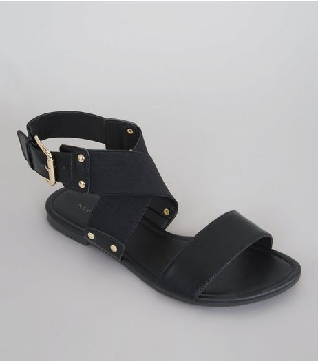 Black Elasticated Stud Strap Sandals | New Look
