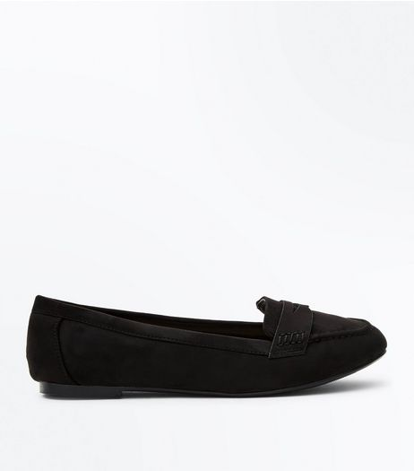 Wide Fit Black Suedette Loafers | New Look