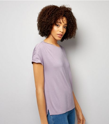 Lilac Ruched Sleeve T-Shirt  | New Look