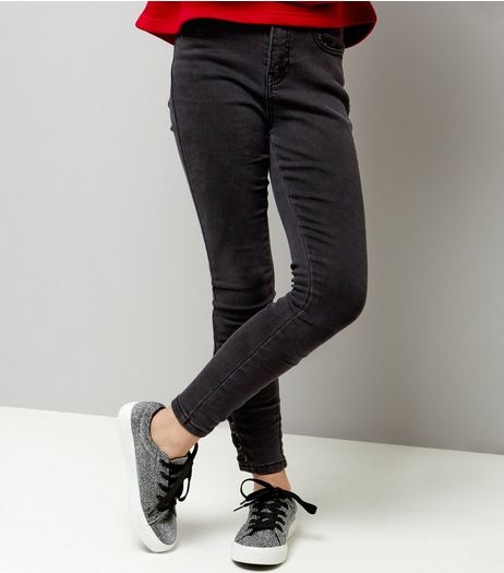 Teens Black Lace Up Hem Skinny Jeans | New Look