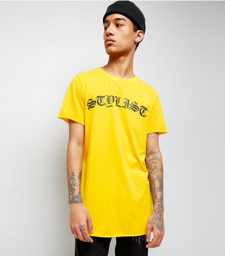 Yellow Stylist Print Longline T-Shirt | New Look