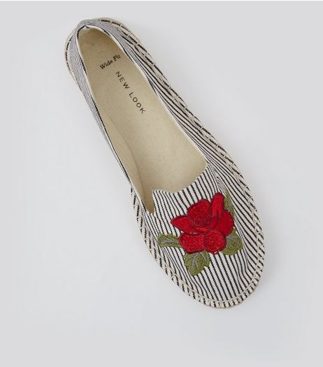 Wide Fit Black Stripe Floral Embroidered Badge Espadrilles | New Look