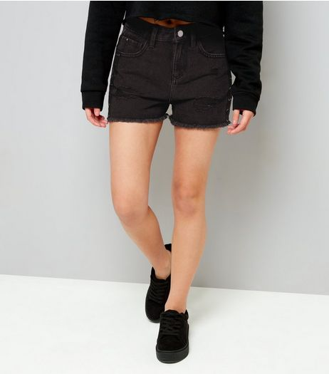 Teens Black Lace Up Side Denim Shorts | New Look