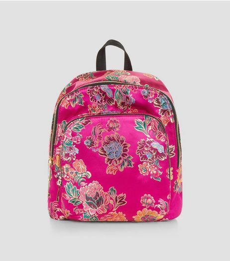 Bright Pink Sateen Floral Jaquard Mini Backpack | New Look
