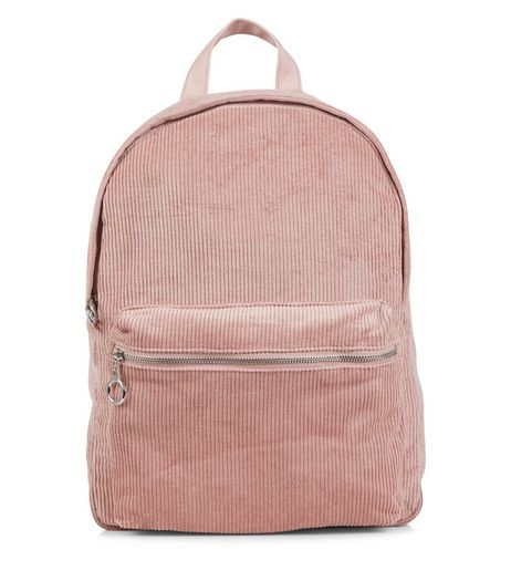 Mid Pink Corduroy Backpack  | New Look