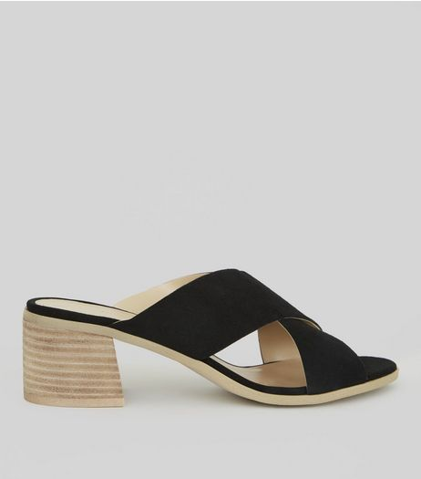 Black Suede Cross Strap Mules | New Look