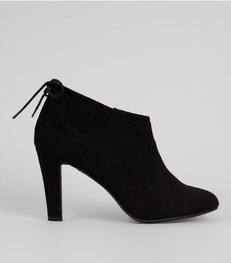 Black Comfort Tie Back Heeled Shoe Boots | New Look