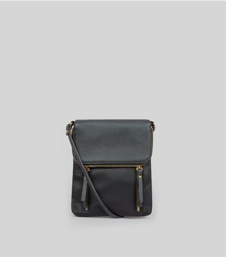 Black Fold Over Cross Body Bag | New Look