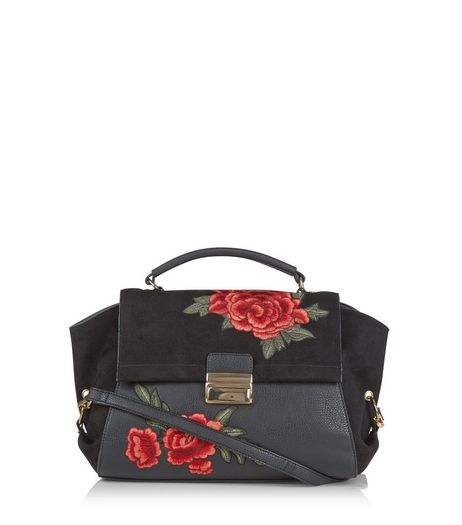 Black Suedette Panel Floral Embroidered Satchel | New Look