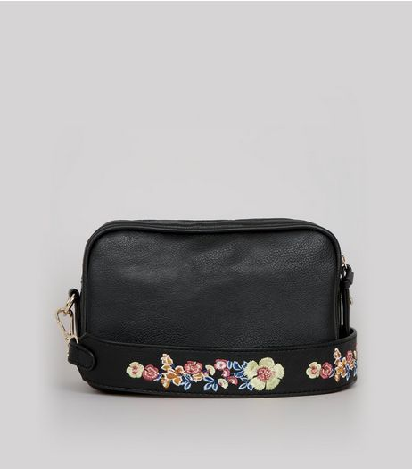 Black Floral Embroidered Strap Camera Bag | New Look