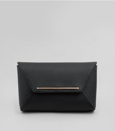 Black Envelope Clutch Bag | New Look