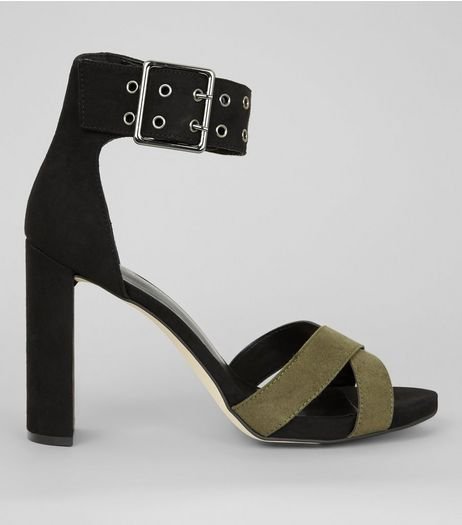 Black Buckle Strap Contrast Strap Heels | New Look