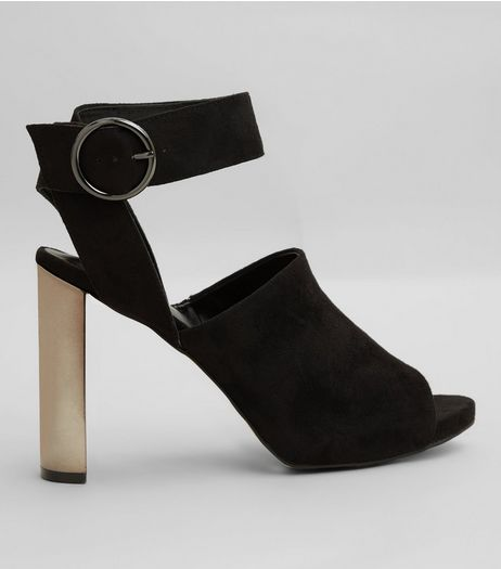 Black Suedette Metallic Block Heels | New Look