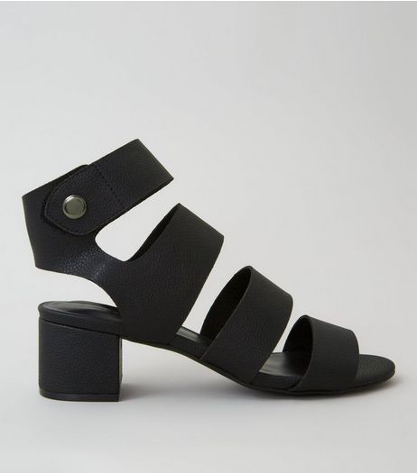 Black Popper Strap Block Heels | New Look
